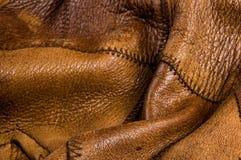 Starego rocznika prawdziwego mi?kkiego br?zu tekstury rzemienny t?o, odg?rna warstwa z pores i narysy, makro-, w g?r? obrazy stock