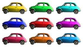 Starego rocznika samochodowy kolaż kolorowy Włoski przemysł Na bielu cropped obraz royalty free