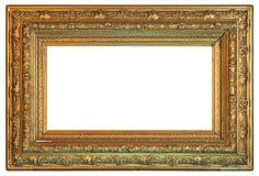Starego rocznika złota rama na białym tle obrazy stock