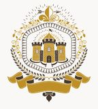 Starego stylu heraldyka, heraldyczny emblemat, wektorowa ilustracja royalty ilustracja