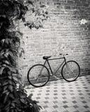Starego stylu singlespeed bicykl przeciw ściana z cegieł obrazy royalty free
