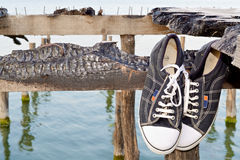 Starego stylu sneakers b Obrazy Royalty Free