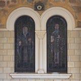Starego witrażu zbliżenia kościelny vertical Zdjęcie Royalty Free