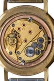 Starego zegarowego mechanizmu makro- strzał, odgórny widok Zdjęcia Stock