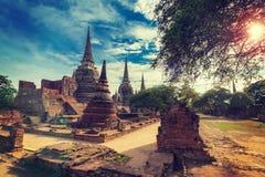 Starej świątyni Wata phra sri sanphet w Ayutthaya, Tajlandia zdjęcie stock
