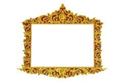 Starej antykwarskiej złoto ramy ścian Sztukateryjnej greckiej kultury rocznika stylu wzoru linii rzymski projekt dla granicy odiz Zdjęcia Royalty Free