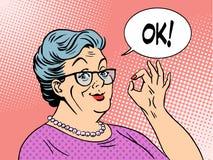 Starej kobiety babci ok gest ilustracji