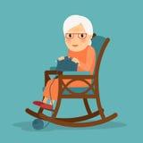 Starej kobiety dzianie Obraz Royalty Free