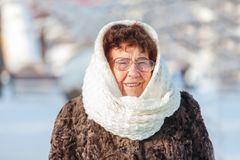 Starej kobiety odprowadzenie przy zima parkiem Zdjęcie Royalty Free