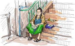 Starej kobiety sprzedaży nakreślenia rysunku wolnej ręki loteryjna ilustracja Zdjęcia Royalty Free