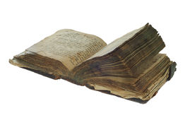 Starej książki otwarty odosobniony na białym tle z ścinek ścieżką Zdjęcie Royalty Free