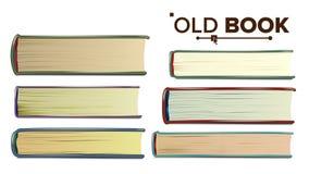 Starej książki wektor Papierowa książka W pokrywie Odosobniona realistyczna ilustracja Zdjęcia Stock