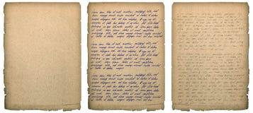 Starej książki strona z przetartym krawędzi Handwriting papieru tekstury backgrou Obrazy Royalty Free