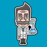 Starej naukowiec ikony kreskówki projekta Retro wektor ilustracja wektor