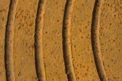 Starej ośniedziałej żelaznej stropnicy oksydaci kruszcowy talerz, Obraz Stock
