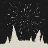 Starfall on night sky in forest Stock Photo