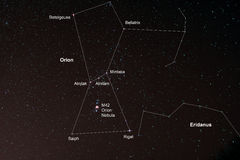Starfield с Орионом и межзвёздным облаком Ориона Стоковая Фотография
