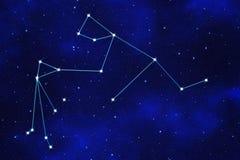 Starfield bakgrund av det zodiacal symbolet Arkivbild