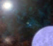 Starfield con el fondo del planeta y del sol Imagen de archivo libre de regalías