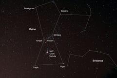 Starfield con Orione e Orion Nebula Fotografia Stock