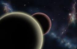 Starfield creado Digitaces con dos planetas ilustración del vector