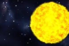 Starfield creato Digitahi e stella gialla Immagini Stock Libere da Diritti