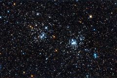 Starfield. A double star cluster in Perseus stock photography