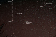 Starfield med Andromeda Galaxy Fotografering för Bildbyråer