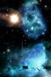 Starfield med nebulosa- och solbakgrund Arkivbild