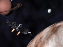 StarFighter in action in space with planets Stock Image