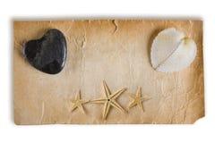 starfish сердец старые бумажные стоковая фотография