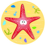 Starfish. Illustration of a funny character in the starfish Stock Images