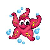 Starfish. Collor illustration of smilling starfish with bubbles vector illustration