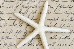 Starfish auf altem Zeichen Lizenzfreies Stockfoto
