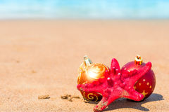 Starfish and balls for the Christmas tree Stock Photo