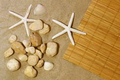 Starfish on a bamboo mat Royalty Free Stock Photos