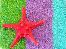 Starfish on bath salt Royalty Free Stock Photos