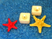 Starfish, bathsalt and candles Royalty Free Stock Image