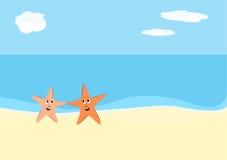 Starfish on beach. Two starfish dancing on the beach royalty free illustration