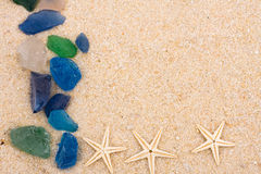 Starfish and Beach Glass border Stock Images