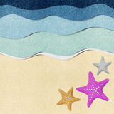 Starfish on beach recycled paper background. Starfish on beach recycled papercraft background stock illustration