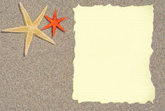 Starfish with blank paper for a list, menu or text Royalty Free Stock Photography