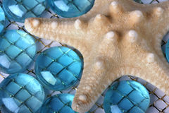 Starfish and Blue Beach Glass Royalty Free Stock Photography