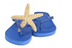 Starfish on Blue Flip Flop Stock Image