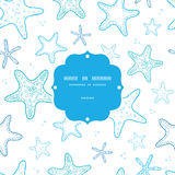 Starfish blue line art frame seamless pattern Royalty Free Stock Photography