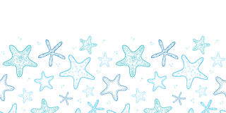 Starfish blue line art horizontal seamless pattern background royalty free illustration