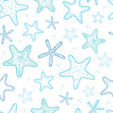 Starfish blue line art seamless pattern background Stock Photo