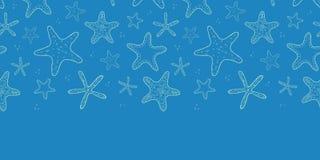 Starfish blue texture horizontal seamless pattern Royalty Free Stock Image