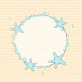 Starfish and bubble background. Starfish and bubble border on a textured background Stock Image