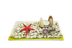 Starfish and candle Royalty Free Stock Image